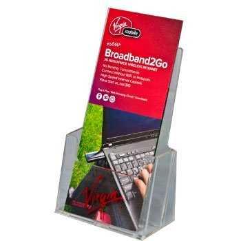 Clear-Ad - Clear Acrylic Brochure Holder - Slant Back Tri-fold Brochure Display Holder Stand (Single Pack)