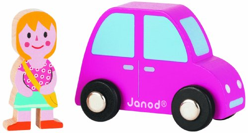 Janod Story Set - City (Pink Car and Girl) - 1