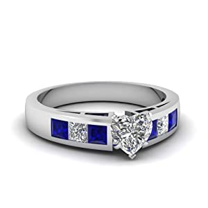 Fascinating Diamonds 1.20 Ct Heart Shaped Diamond Engagement Ring & Blue Sapphire Gold SI1-E 14K GIA