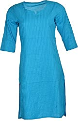 Artisan Women's Cotton Straight Kurta (CZF10038_XL, Sky Blue, XL)