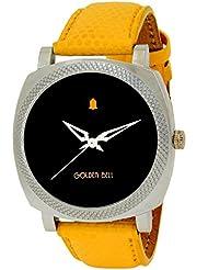 Golden Bell Original Black Dial Yellow Strap Wrist Watch For Men