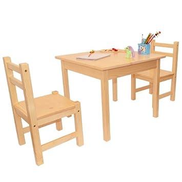 Mobili In Legno Per Bambini Set Tre Pezzi Due Sedie E Un Tavolino In Legno Di Pino Colore Chiaro A Buon Mercato Basso Halerbho