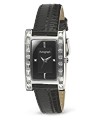 Autograph Rectangular Diamanté Face Strap Watch