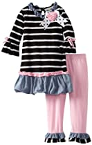 Rare Editions Girls 2-6X Toddler Stripe Legging Set, Black/Pink, 4T