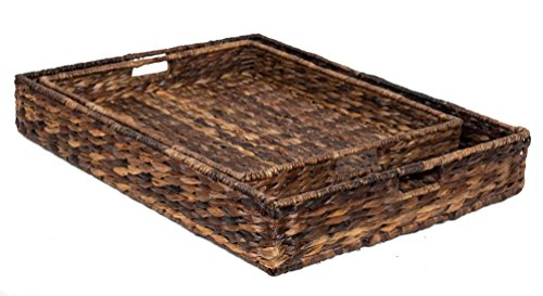 BirdRock Home Serving Trays Abaca - 2 Pieces | Hand Woven Renewable Fiber
