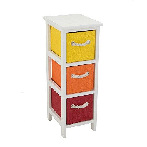 Cassettiera in legno 3 cassetti maniglia in corda colorata for Arredo casa amazon