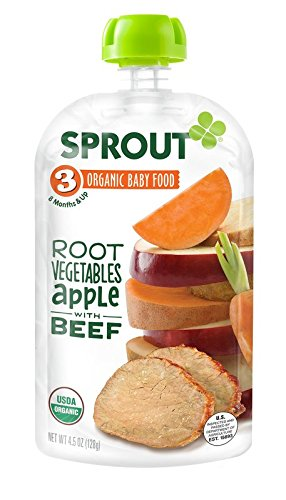 Sprout Organic Foods Stage 3 Pouches, Root Vegetables & Apple with Beef, 4.5 Ounce (Pack of 5) - 1