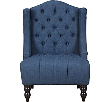 Giantex Sofa Tufted Tall Wingback Vintage Tufted Fabric Accent Chair Home Furniture Nailhead Armchair (Navy)