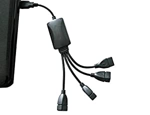 Flexible USB 2.0 Hub 4 Port | Neues Modell | Verteiler Kabel USB 4 fach | Plug & Play | Notebook-Laptop / PC-Mac | schwarz