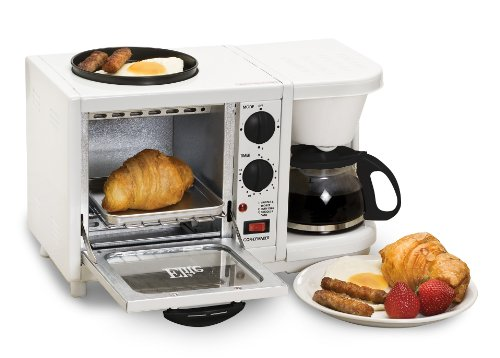 Elite Cuisine EBK-200 Maxi-Matic 3-in-1 Multifunction Breakfast Center, White (Toaster Oven Coffee Maker Combo compare prices)