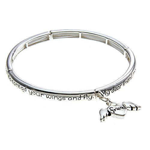 Silvertone Friend'S Blessing Inspirational Bracelet