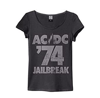 amplified damen t shirt ac dc tour 74 jailbreak logo. Black Bedroom Furniture Sets. Home Design Ideas