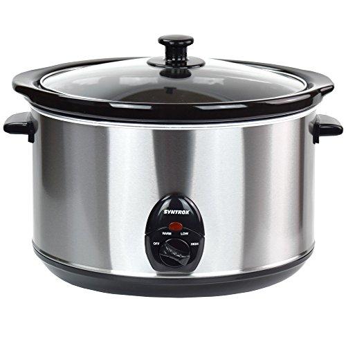 Syntrox-Germany-56-Liter-Edelstahl-Slow-Cooker-mit-Warmhaltefunktion-Sicherheitsglas-und-Entnehmbarer-Keramikschssel-Langsamgarer-Schongarer