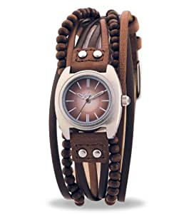 Kahuna KLS-0083L Ladies brown beaded multi thong watch