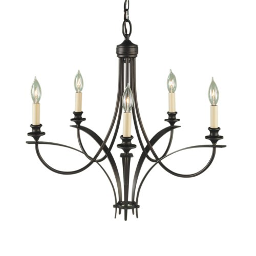 Murray Feiss F1888/5ORB Boulevard Five-Light Chandelier, Oil Rubbed Bronze with Five Candelabra Sockets