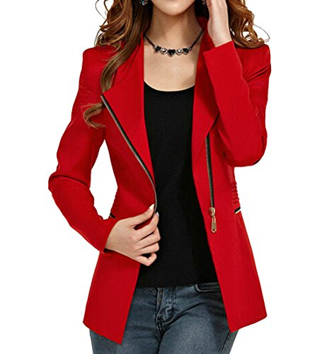 Womens Autumn Oversize Short Slim Bodycon Zipper Suit Coat Jacket Blazer Outwear (L, Wine Red)