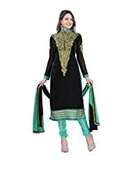 Surat Tex Black Color Embroidered Pure Georgette Semi-Stitched Salwar Suit