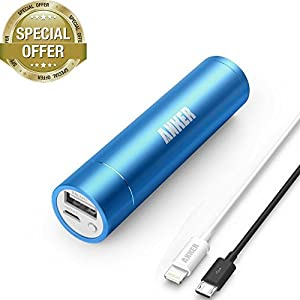 [Apple MFi Certified] Anker 2nd Gen Astro Mini 3200mAh Portable Charger with PowerIQ Technology (Blue) + 3ft / 0.9m Lightning Cable for iPhone 6 Plus / 5, iPad 4 / Air / mini / mini 2 and iPod touch (White) by Anker