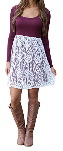 Chuanqi Women's White Crochet Lace Patchwork A-Line Mini Dresses, Small, Maroon