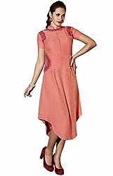 Viva N Diva Women's Peach Color Women's Linen Kurti.