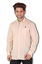 Kivon Men's Light Orange Slim Fit Plain Casual Shirt