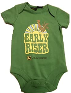 "John Deere Baby Boys ""EARLY RISER"" Bodysuit Onesie ~ 3-6 Mo."