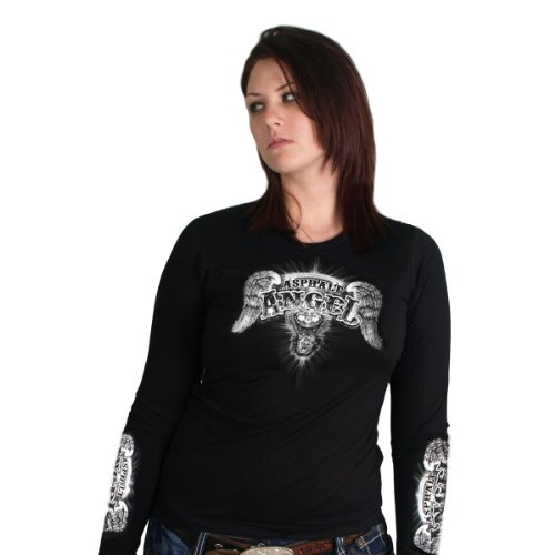 Hot Leathers Asphalt Angel Ladies Long Sleeve Tee  (GLD3038, Black, Large)
