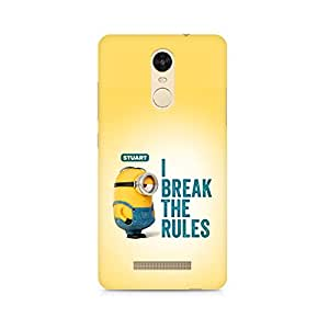 Ebby Minion I Break the rules Premium Printed Case For Xiaomi Redmi Note 3