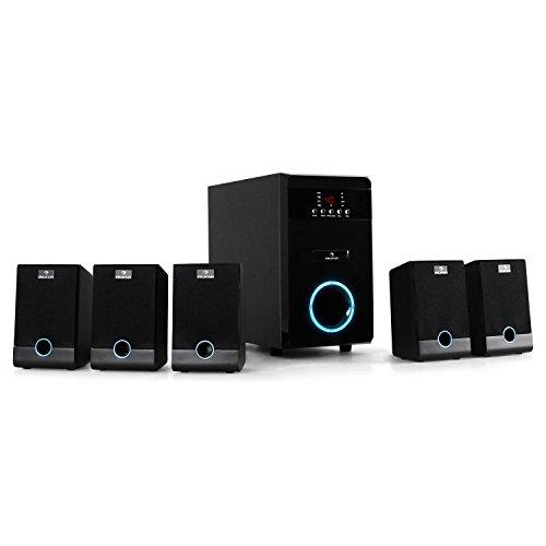 Auna-Aktives-51-Lautsprecher-Boxen-Set-Lautsprecher-System-95W-RMS-blauer-LED-Lichteffekt-Fernbedienung-Sleeptimer-schwarz