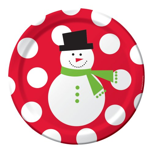 Creative Converting 50 Count Snowman Dots Paper Dinner Plates front-536353