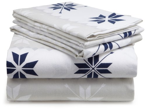 Pinzon 160-Gram Printed Cotton Flannel Queen Sheet Set, Swiss Bliss Blue