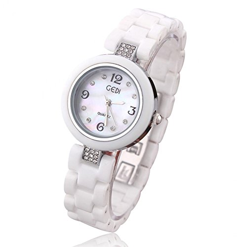 Beauty Gift 1Pcs Ceramic Watch White Strap Crystal Hours Casual Watches Analog Quartz Watch Hot