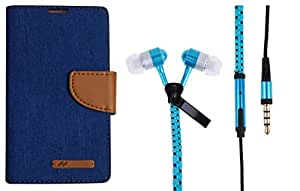 Novo Style Wallet Dairy Jeans Flip Case For Samsung Galaxy J7 - Blue & Zipper earphone with ear bud in-ear high bass with mic