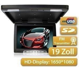 Deckenmonitor-4826cm-wie-19-Zoll-Diagonale-169-Hochauflsendes-Display-mit-1650RGB1080-USB-SD-Port-Inklusive-IR-FM-Transmitter-Pal-NTSC-Multimedia-Fernbedienung-2x-Video-1x-Audio-Anschlsse-mit-Dachinne
