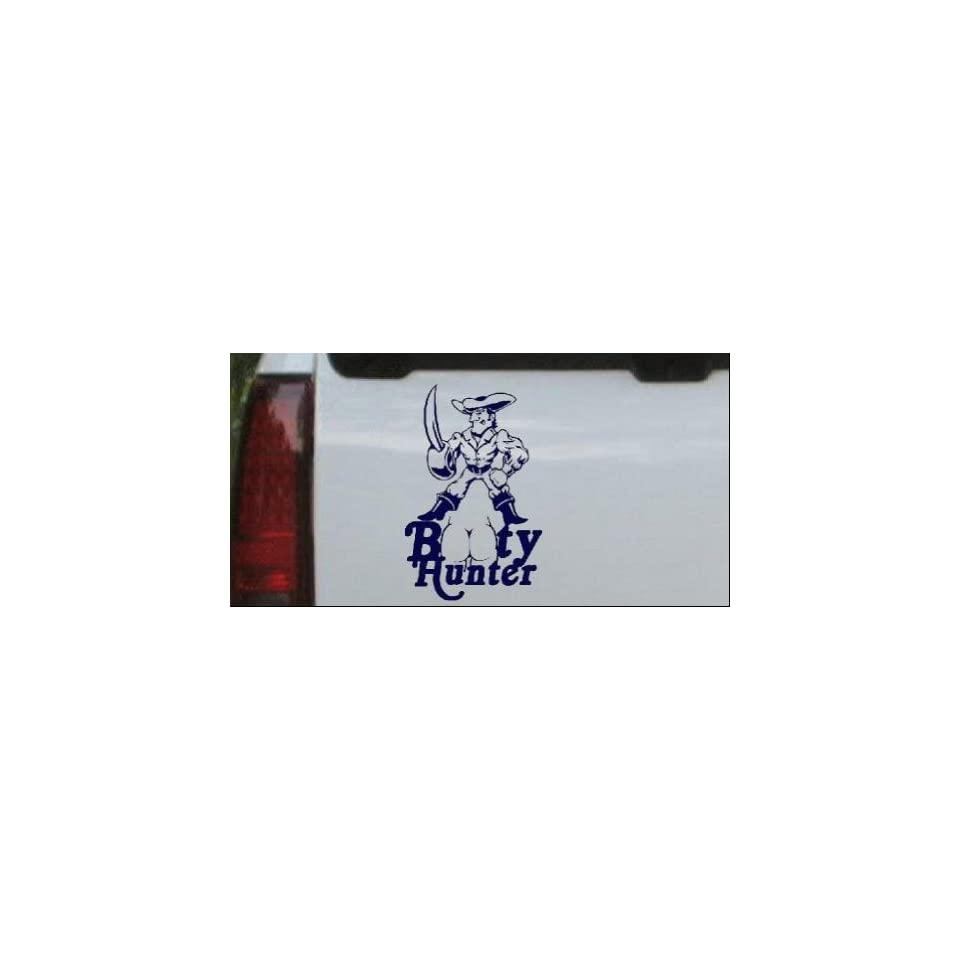Navy 24in X 15.3in    Pirate Booty Hunter Funny Car Window Wall Laptop
