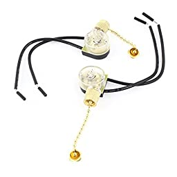 2PCS AC 3A 250V 6A 125V Wired Ceiling Fan Pull Chain Switch Gold Tone