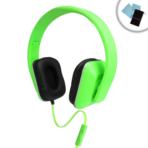 Neon Raver EDM Dance Music Adjustable Over-Ear Stereo Headphones with In-Line Microphone Handsfree Calling for iPod Touch , Classic / Coby MP / Zune HD / Samsung Galaxy Player & More MP3 Players ( Neon Green )