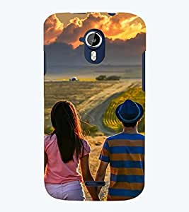 Printvisa Potrait Of A Love Couple Back Case Cover for Micromax Canvas Magnus A117