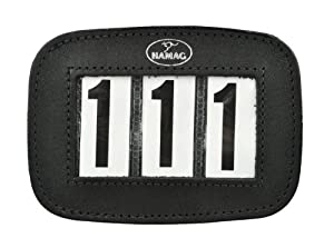 Leather Equestrian Competition Number Holder for Horse Bridle (Black)