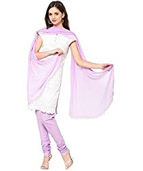 MemSahiba Women Plain Cotton Chudidaar Dupatta Combo (MS-1376_Light Purple)