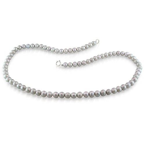 Fresh Water Grey Pearl Necklace With Brass (5-6 mm)