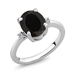 2.22 Ct Oval Black Onyx White Diamond 925 Sterling Silver Ring