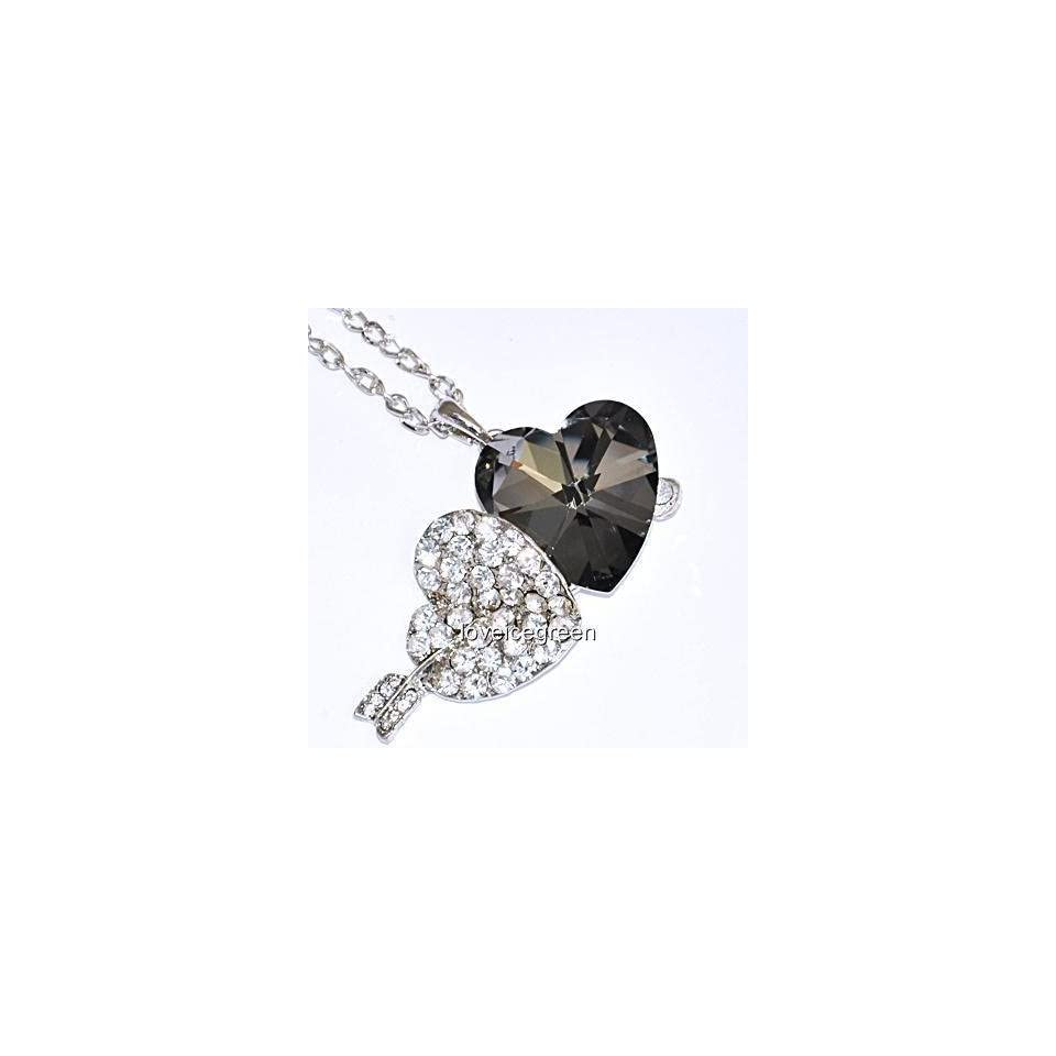 Crystal Double Heart (Black and Clear) Glass Pendant Necklace 18kgp White Gold Plated [Cn18]
