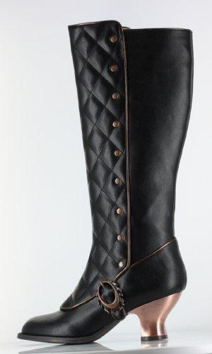 Hades Victoriana Thundra Leather Vintage Retro Boots-Black, 5