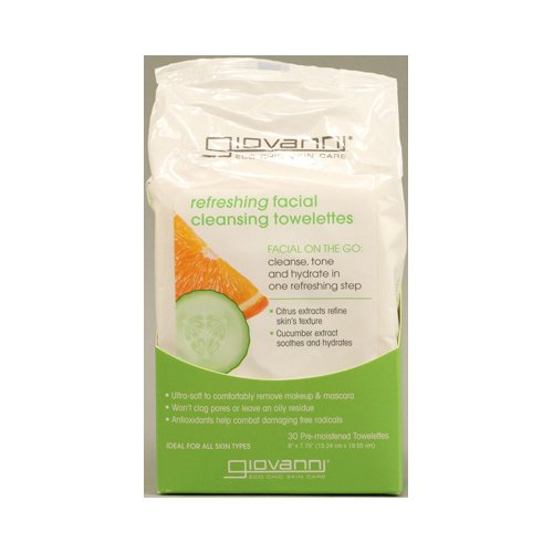 Giovanni Facial Cleansing Towelettes, Citrus And Cucumber, 30 Count front-932972