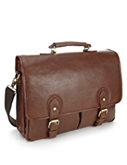 Collezione Leather Double Buckle Briefcase