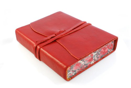 Cavallini Roma Lussa Leather Journal, 5x7 inch, Hand Made in Italy, Red