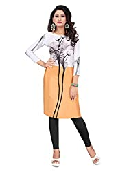 Women Icon Orange & white Printed Semi-Stitched Kurti WICLE11487_XL