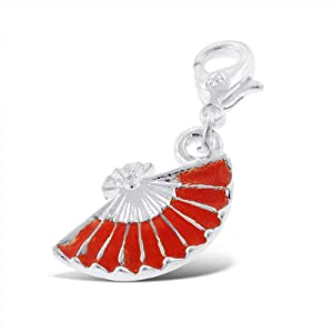 Addicting Charms Spanish Fan with Red Enamel Charms for Bracelet or Pendant Necklace with Lobster Clasp