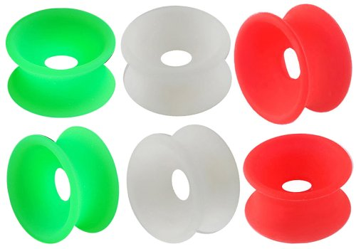 """5/8"""" Inch 16Mm - Green,Red,White Implant Grade Silicone Double Flared Flare Tunnels Ear Gauge Plugs Earlets Si02 Wholesale Lot Aasc - Ear Stretched Stretching Expanders Stretchers Bulk Set- Pierced Body Piercing Jewelry - Set Of 6 Pieces"""